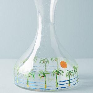NEW Anthropologie Boca Raton Glass Carafe Pitcher